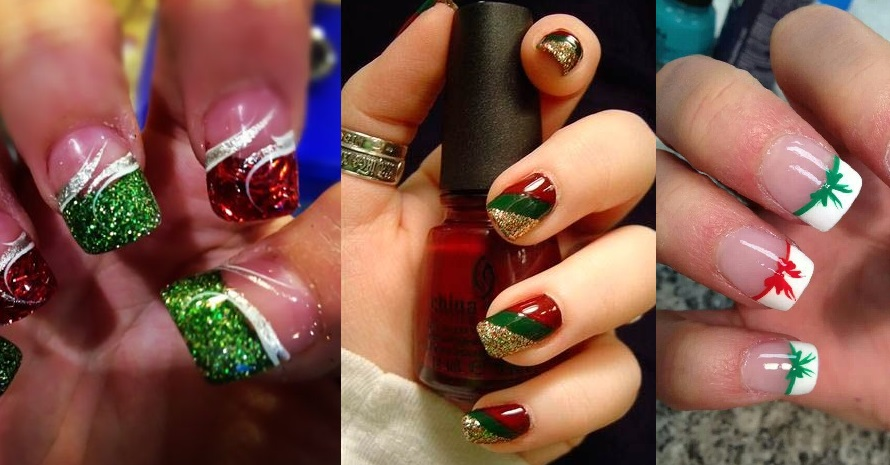 nail art natale 2015 neve rosso verde