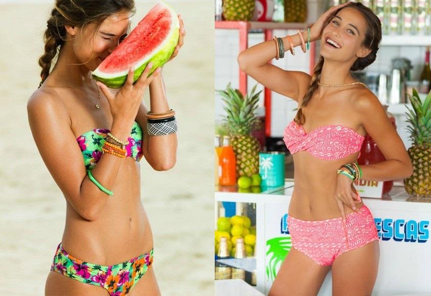 trova bikini tezenis online e scopri le ultime tendenze di moda e le nuove costume da bagno a fascia con fantasia tropicale dal tezenis show 2017