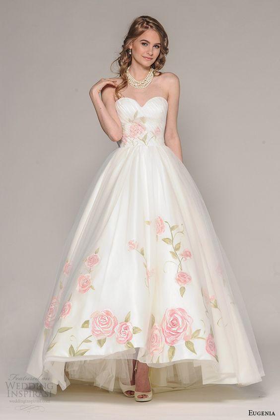 abiti da sposa 2017 colorati fiori rosa