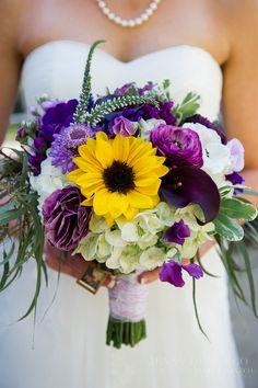 bouquet sposa girasoli viola