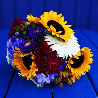 bouquet sposa girasoli foto