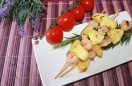 ricetta spiedini code di gamberetti e ananas