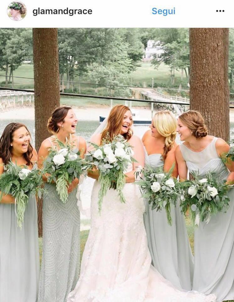 matrimonio greenery abiti damigelle
