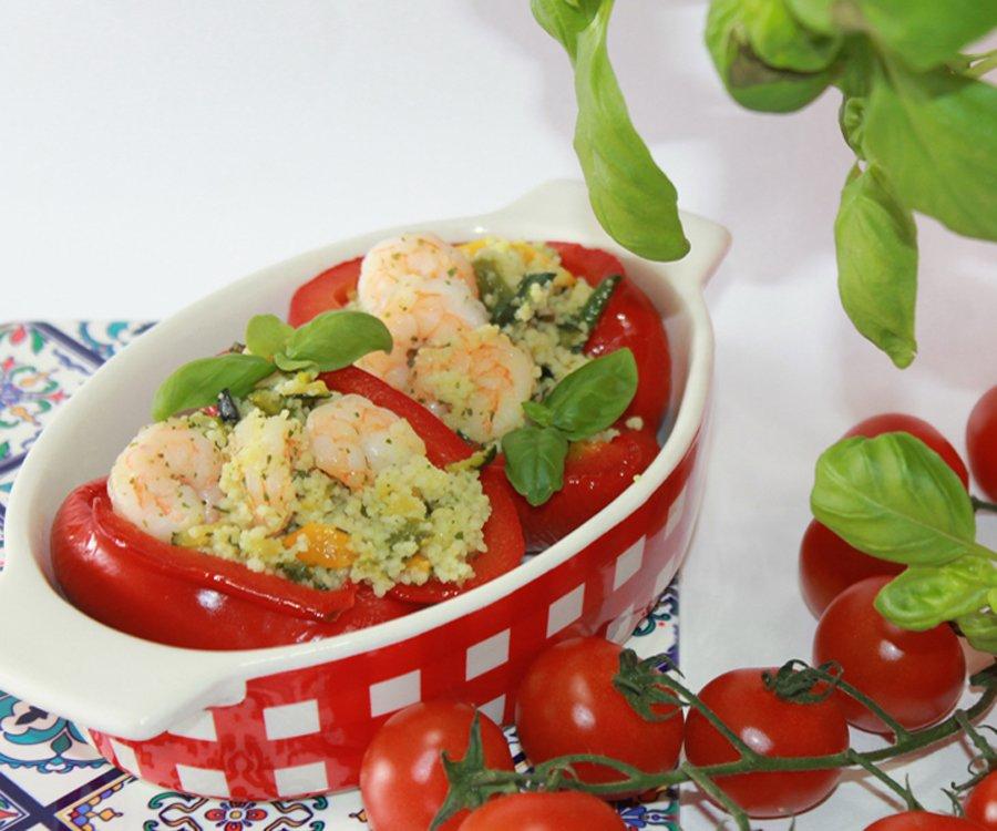 Ricetta estiva peperoni ripieni cous cous e gamberetti