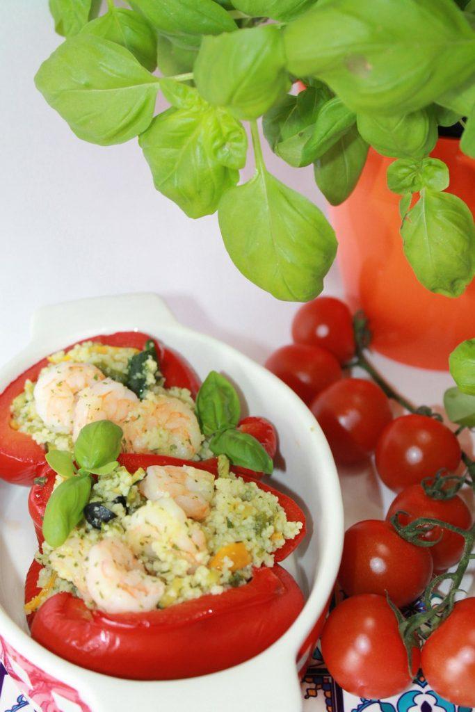 Ricetta peperoni ripieni cous cous e gamberetti foto
