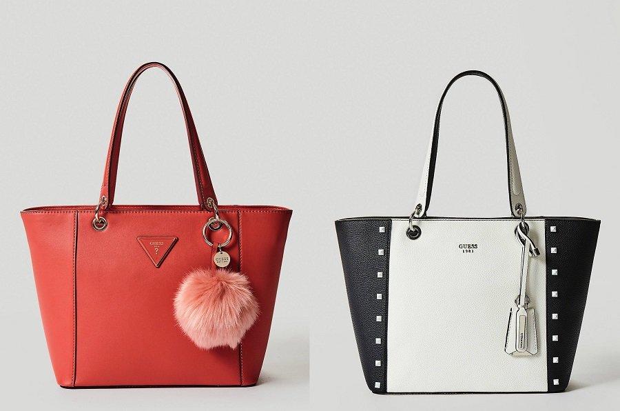 Borsa shopping nera con borchie GUESS nuova collezione pe 2018