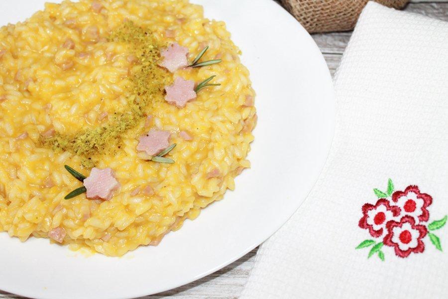 ricetta risotto mortadella zucca pistacchi