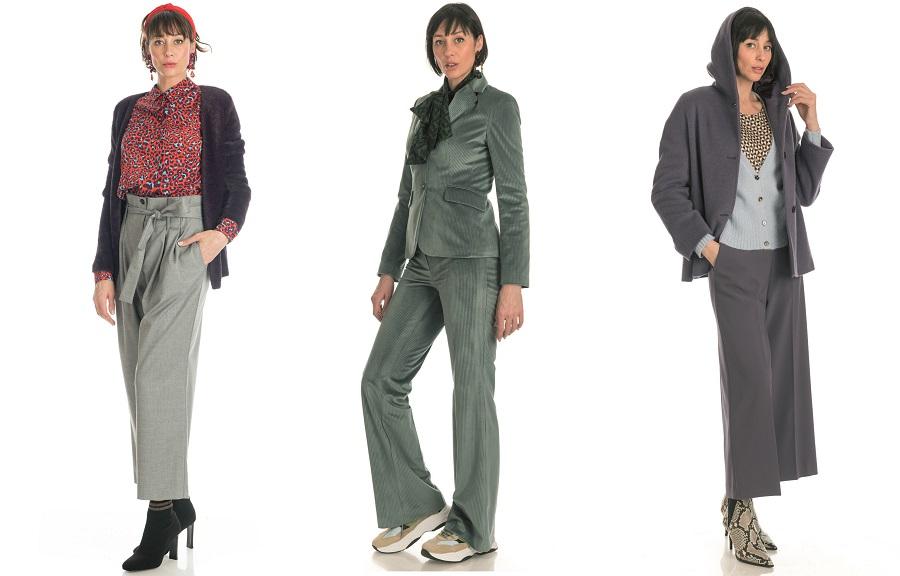 cb4e893061ea Il cappotto a righe grigio chiaro e scuro abbinato a jeans scuro e camicia  con colletto bijoux; Il pantalone pied de ...